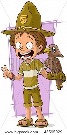 A vector illustration of cartoon cute forester with bird