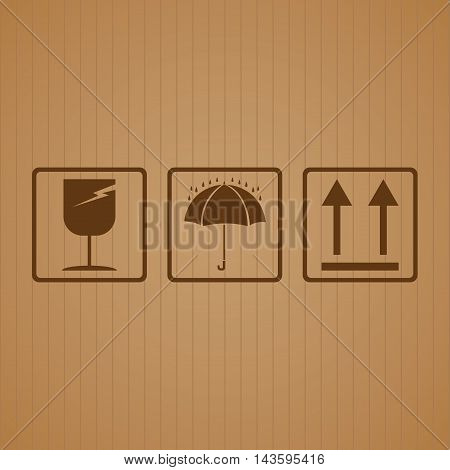 Fragile symbol with cardboard texture background. Fragile symbol vector.
