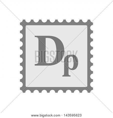 Isolated Mail Stamp Icon With A Drachma Currency Sign