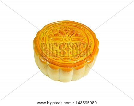 Durian mooncake isolated on white background (with clipping path)