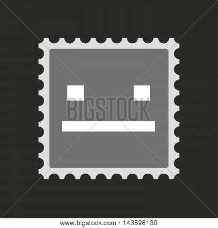 Isolated Mail Stamp Icon With A Emotionless Text Face
