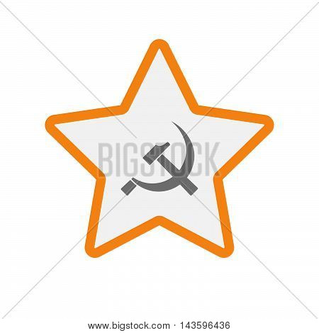 Isolated Line Art Star Icon With  The Communist Symbol