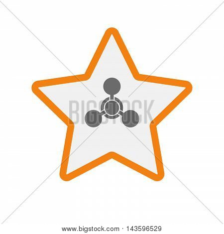 Isolated Line Art Star Icon With A Chemical Weapon Sign