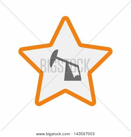 Isolated Line Art Star Icon With A Horsehead Pump