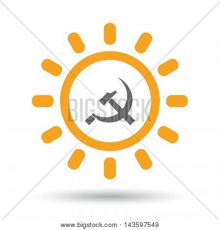 Isolated Line Art Sun Icon With  The Communist Symbol