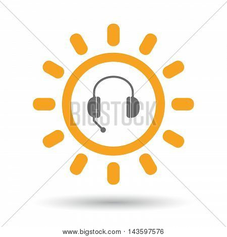 Isolated Line Art Sun Icon With  A Hands Free Phone Device