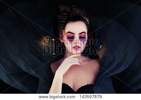 Beautiful Woman. Fantasy Portrait on black background