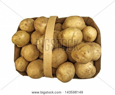 Top view of basket with fresh brown potatoes