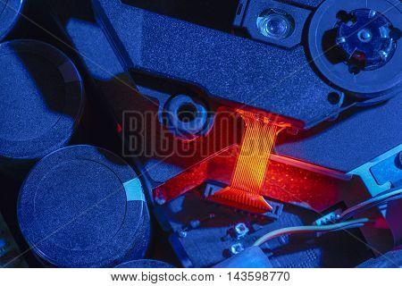 macro shot of some colorful illuminated electronic components