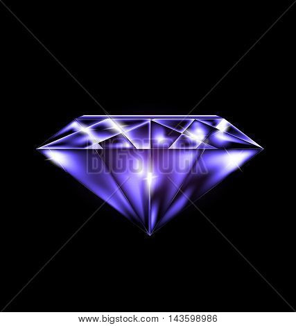 black background and the purple jewelry crystal