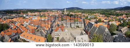 panoramic view of historic town Goslar in Germany