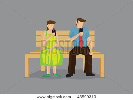 Cartoon man and woman busy texting with mobile phone during date. Vector cartoon illustration on technology in modern lifestyle concept isolated on grey background.