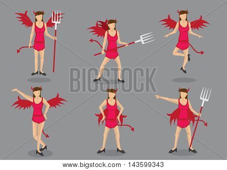 Woman in sexy red devil costume complete with wings tail horns and pitch fork. Set of six vector cartoon character illustrations isolated on grey background.
