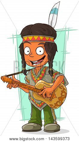 A vector illustration of cartoon Indian boy in poncho