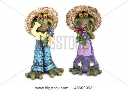 Ceramic Frog Figurines On White Background