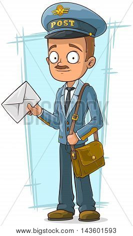 A vector illustration of cartoon postman in blue uniform with hat
