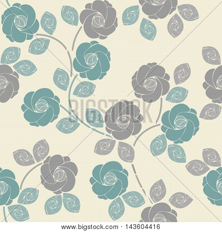 Cute seamless pattern with tender roses and leaves can be used for design fabric ,backgrounds ,wrapping paper ,package, covers, linen and more creative designs.