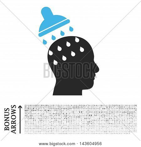 Brain Washing icon with 1200 bonus arrow and navigation pictograms. Glyph illustration style is flat iconic bicolor symbols, blue and gray colors, white background.