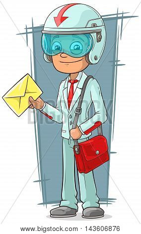 A vector illustration of cartoon super delivery boy with red bag