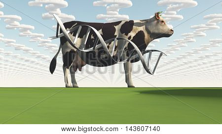 Cow and questions clouds GMO 3D Render