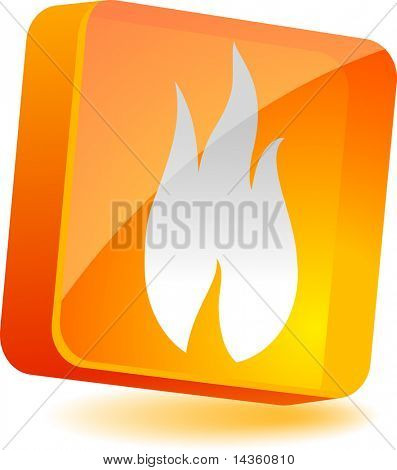 Flame 3d icon. Vector illustration.
