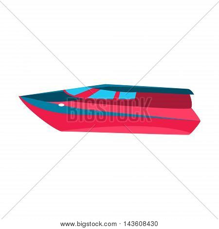 Luxury Cutter Toy Boat Bright Color Icon In Simple Childish Style Isolated On White Background