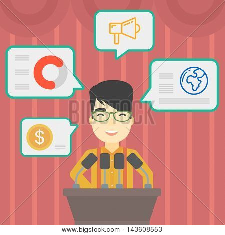 An asian speaker standing at podium with microphones at business conference. Speaker giving speech at podium and speech squares around him. Vector flat design illustration. Square layout.