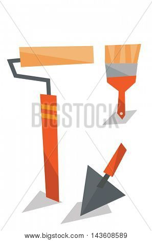 Spatula, paint roller and brush vector flat design illustration isolated on white background.