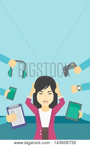 An asian woman in despair and many hands with gadgets around her. Woman surrounded with gadgets. Woman using many electronic gadgets. Vector flat design illustration. Vertical layout.