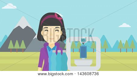 An asian young woman standing near three D printer on the background of mountains. 3D printer making a smartphone using recycled plastic bottles. Vector flat design illustration. Horizontal layout.