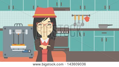 An asian young woman working with three D printer making pizza on the background of kitchen. Woman with crossed arms standing near 3D printer. Vector flat design illustration. Horizontal layout.