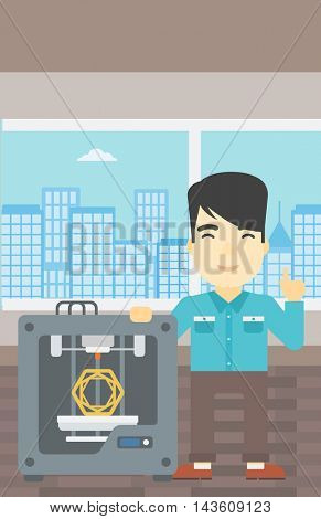 An asian young man standing near three D printer and pointing forefinger up. Engineer using 3D printer. Man working with 3D printer. Vector flat design illustration. Vertical layout.