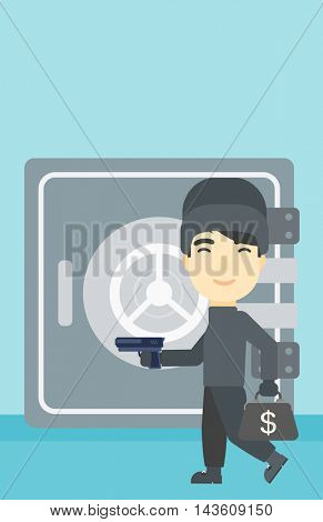 An asian  burglar in mask near the big safe door. Burglar holding hand gun and a bag with dollar sign. Thief stealing money. Vector flat design illustration. Vertical layout.