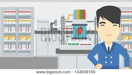 An asian young man standing near 3D printer making a heart on the background of laboratory. Man working with 3D printer. Vector flat design illustration. Horizontal layout.