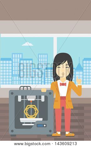 An asian young woman standing near tree D printer and pointing forefinger up. Engineer using 3D printer. Woman working with 3D printer. Vector flat design illustration. Vertical layout.