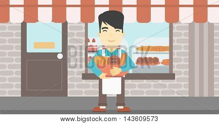 An asian young baker holding basket with bakery products. Baker standing in front of bakery. Baker with bowl full of bread. Vector flat design illustration. Horizontal layout.