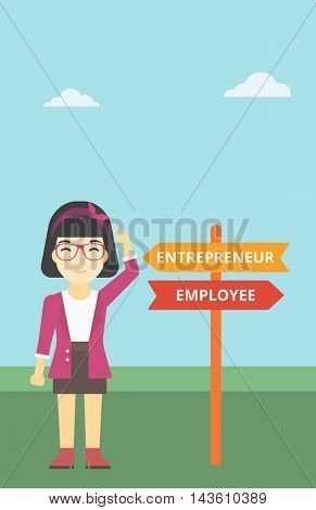 An asian young woman standing at road sign with two career pathways. Woman choosing career pathway. Woman making a decision of her career pathway. Vector flat design illustration. Vertical layout.