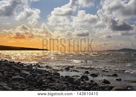 beautiful sunset over the rocky beal beach in county kerry on the wild atlantic way