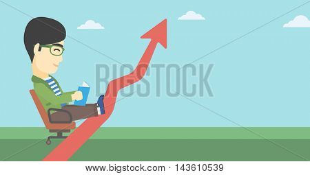 An asian businessman sitting in a chair and reading a book while his legs lay on an uprising arrow. Business study concept. Vector flat design illustration. Horizontal layout.