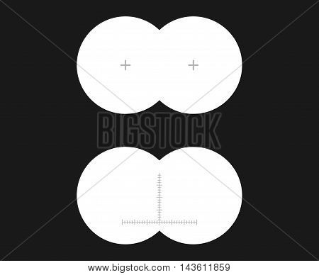 See binoculars first-person or inside view vector illustration. A simple set of binocular sight with sharp edges and marks.