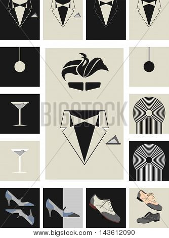 Set of vector icons stylized vintage posters