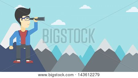 An asian businessman standing on the top of mountain with spyglass. Young businessman looking for success and business opportunities. Vector flat design illustration. Horizontal layout.
