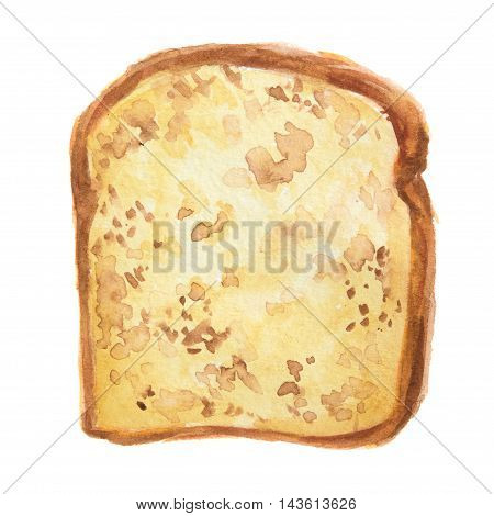 Isolated watercolor bread slice. Fresh and crust bread toast for breakfast on white background.