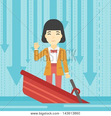 An asian business woman standing in a sinking boat and asking for help. Concept of business bankruptcy. Vector flat design illustration. Square layout.