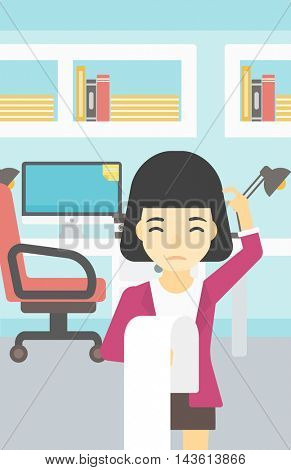 Young worried asian business woman standing in the office and holding a long bill. Concept of business bankruptcy. Vector flat design illustration. Vertical layout.
