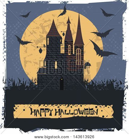 Happy Halloween card with Dark Witch Castle for your designs. Vector image.