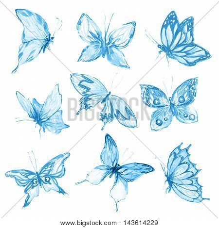 Watercolor butterflies set. Blue butterflies on white background. Beautiful fragile creatures for decoration.