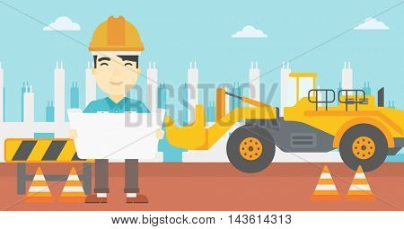 An asian engineer watching a blueprint at construction site. Man with engineer blueprint. Engineer holding a blueprint. Vector flat design illustration. Horizontal layout.