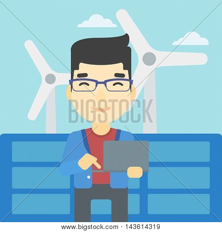 An asian worker of solar power plant and wind farm. Man working on laptop on a background of solar power plant and wind turbines. Vector flat design illustration. Square layout.