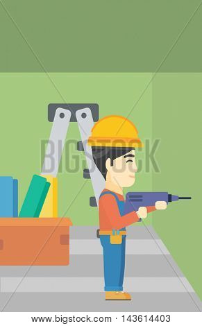 An asian worker drilling a hole in the wall. A man in overalls and hard hat working with hammer drill. Vector flat design illustration. Vertical layout.